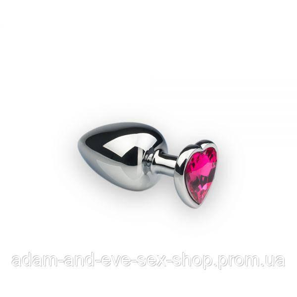 Анальная пробка, Silver Heart Pink-Rhodolite, M