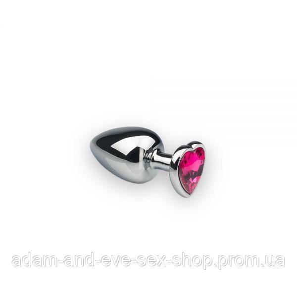 Анальная пробка, Silver Heart Pink-Rhodolite, S