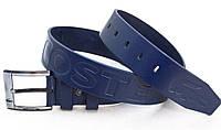 Мужской синий кожаный ремень Lacoste, фото 1