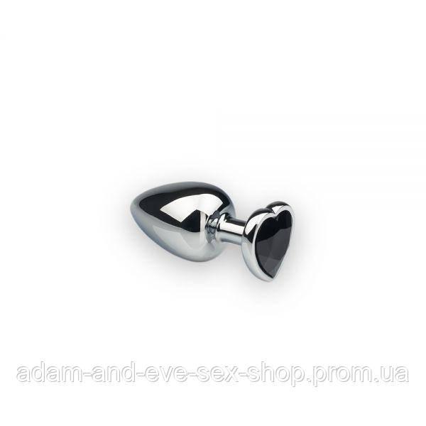Анальная пробка, Silver Heart Black Diamond, S