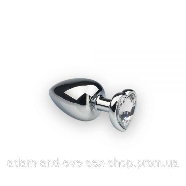 Анальная пробка, Silver Heart Diamond, M