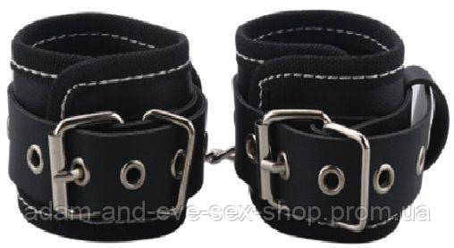 Наручники BDSM-NEW PVC Handcuffs Woven Belt Edge Sealing With Chain, black