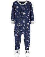 Трикотажный Человечек пижама слип Carters12M рост 72-76 см Картерс для мальчика Спорт на молнии