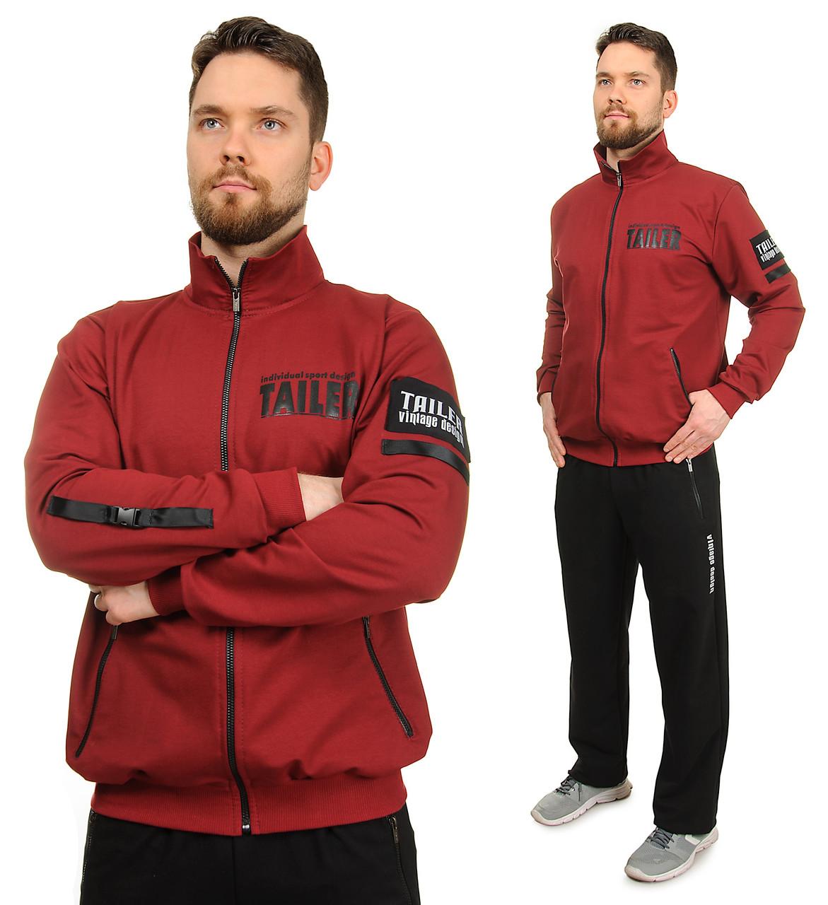 Мужской спортивный костюм трикотажный воротник стойка, брюки прямые, красный