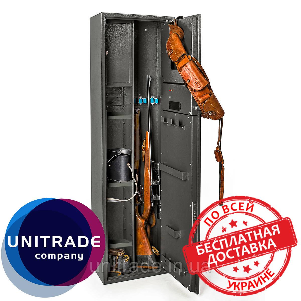 Оружейный сейф на 3!! ствола 137х39х25см. Е-139К1 электронный замок для дома, офиса, в гостиницу для хранения