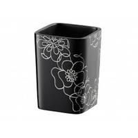 Стакан черный с белыми цветами и стразами BLOOM 02868