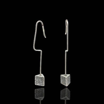 Серебряные серьги-петли Гирьки, фото 2