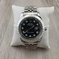Женские наручные часы Rolex Date Just Diamonds серебро с ченым циферблатом 23166 реплика