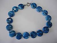 Агат голубой африканский Бусы плоские круглые 25 мм