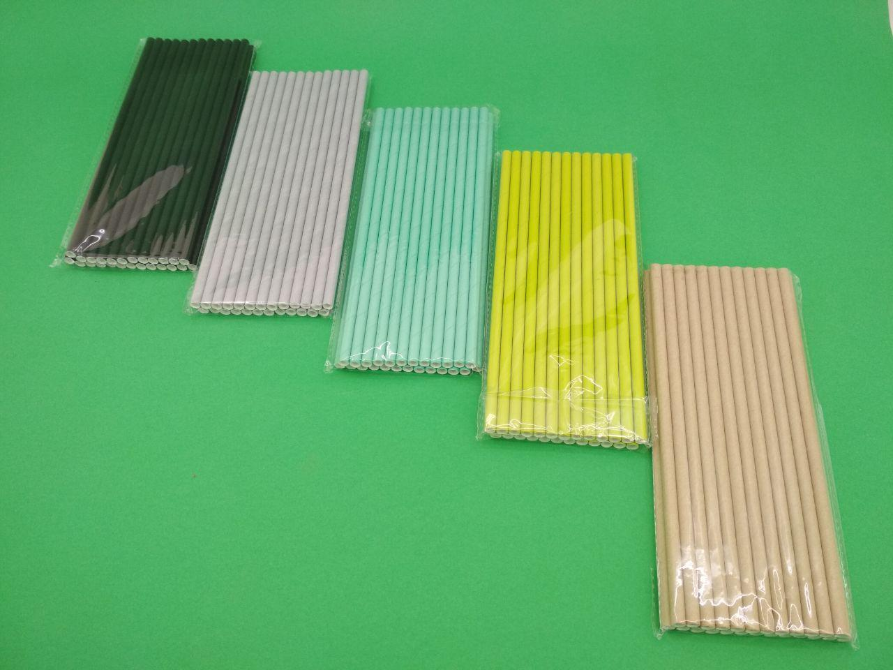 Соломка паперова трубочка 25шт однотонна асорті (1 пач.)