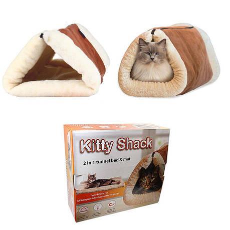 Домик лежак Kitty Shack 2 в 1 с магнитом для шерсти Коричневый (ip949), фото 2
