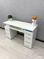Маникюрный стол с ультрафиолетом, двухтумбовый. Модель V453 белый, фото 1
