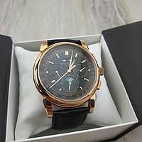 Мужские наручные механические часы Patek Philippe perpetual calendar gold black 05031 реплика