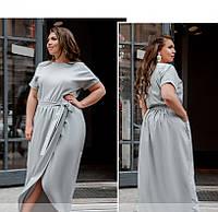 / Размер 50,52,54,56 / Женское легкое платье с карманом / 8609-1-Светло-Серый