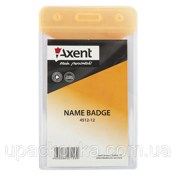 Бейдж Axent 4512-12-A вертикальный, глянцевый, оранжевый, 51х83 мм