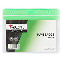 Бейдж Axent 4511-04-A горизонтальный, глянцевый, зеленый, 83х52 мм