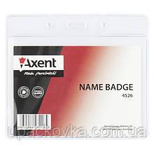 Бейдж Axent 4526-A горизонтальный, прозрачный, 100х72 мм