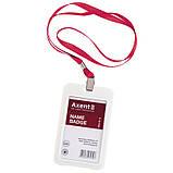 Шнурок для бейджа с металлическим клипом Axent 4532-06-A, красный, фото 2