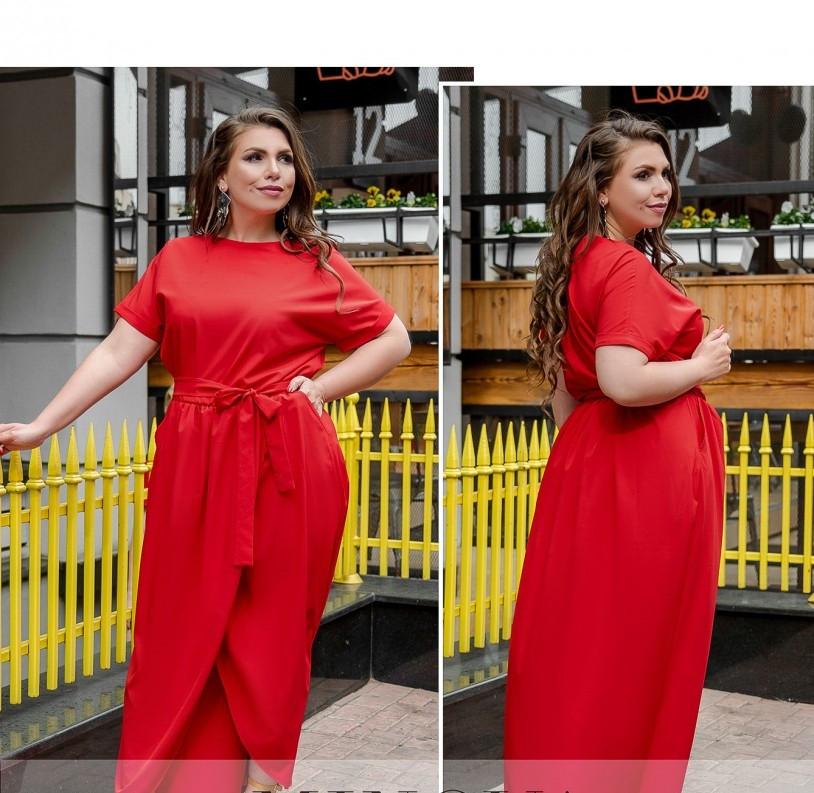 / Размер 50,52 / Женское легкое платье с карманом / 8609-1-Красный