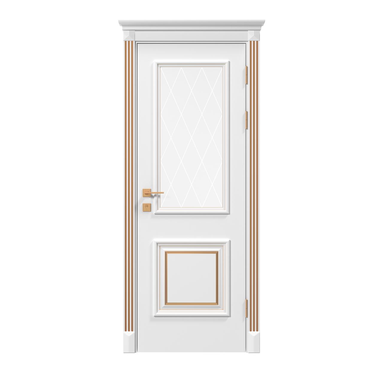 Двери Родос Siena Laura  стекло, белый мат патина