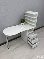 Складной маникюрный стол с полками для лака. Модель V454 белый, фото 1