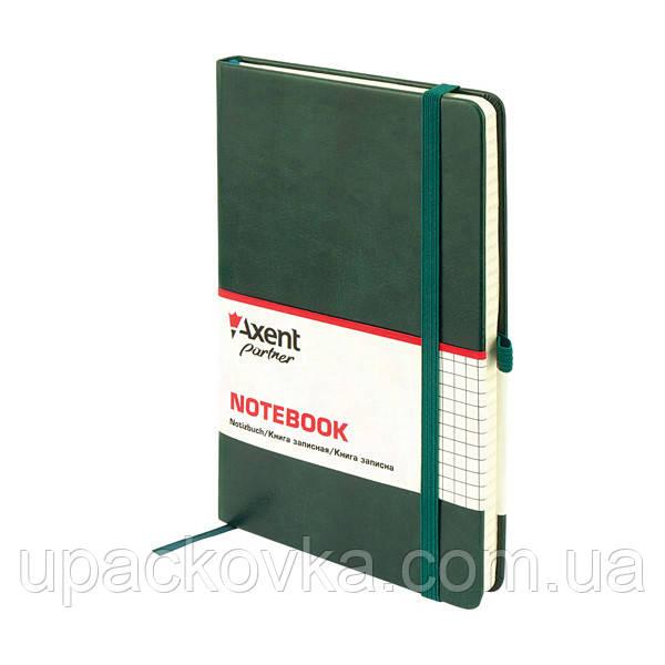 Книга записная Axent Partner Lux 8202-04-A, А5-, 96 листов, клетка, зеленая