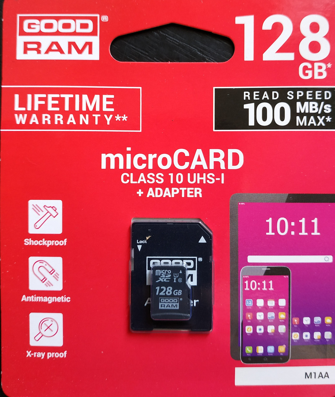 Карта памяти микро SDXC Goodram 128 гб класс 10 UHS-1 с адаптером