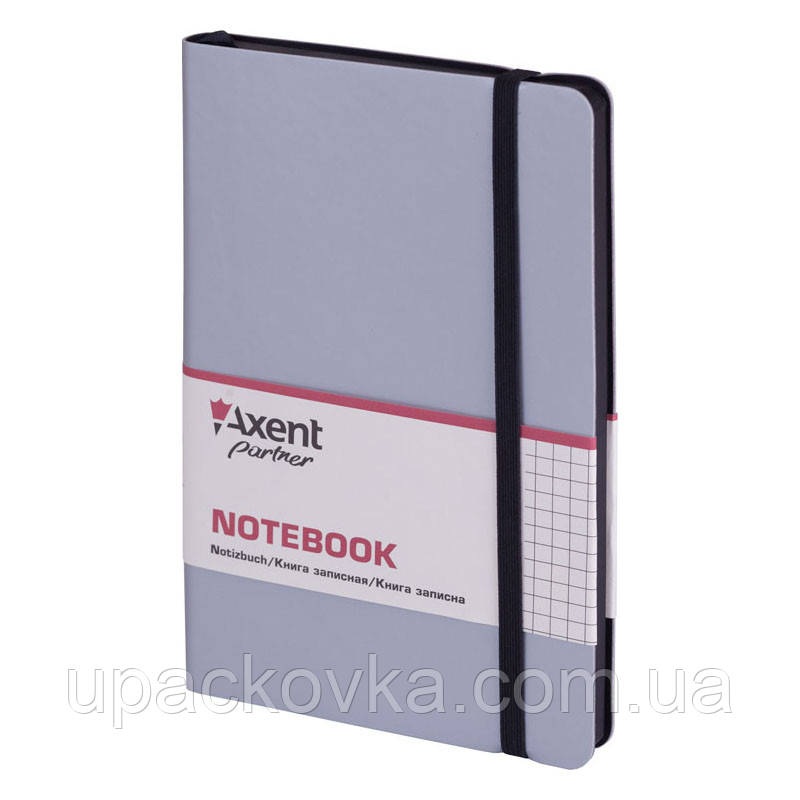 Книга записная Axent Partner Soft 8206-34-A, 125х195 мм, клетка, серебряная
