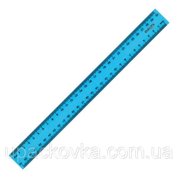 Линейка пластиковая Delta D9800-03 30 см, матовая, голубая