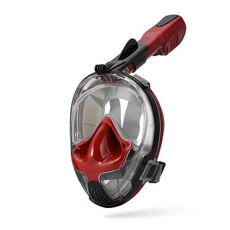 Маска для сноркелінгу TheNice EasyBreath-III M2101 на все обличчя для дайвінгу  L/XL Червоно-чорний , фото 2
