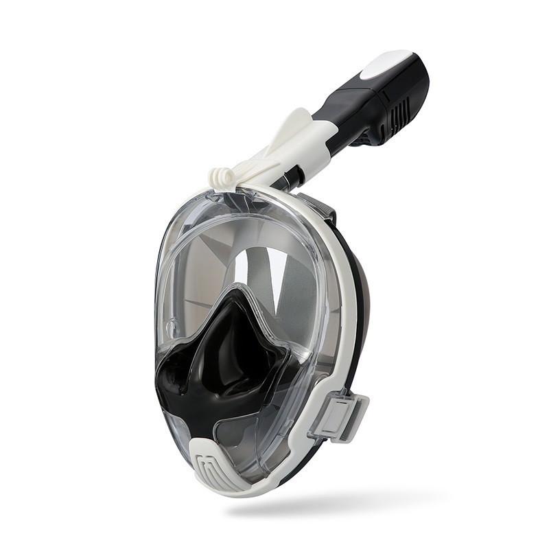 Маска для сноркелінгу TheNice EasyBreath-III M2101 на все обличчя для дайвінгу  L/XL Біло-чорний (SU