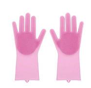 Силіконові рукавиці SUNROZ для миття посуду зі щіточкою Рожеві (SUN2570)
