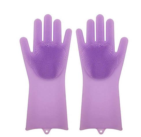 Силіконові рукавиці SUNROZ для миття посуду зі щіточкою Фіолетовий (SUN2572), фото 2