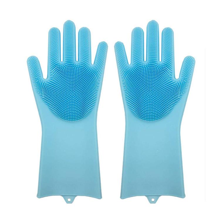 Силіконові рукавиці SUNROZ для миття посуду зі щіточкою Блакитний (SUN2569)