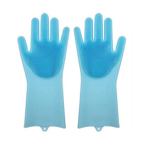 Силіконові рукавиці SUNROZ для миття посуду зі щіточкою Блакитний (SUN2569), фото 2