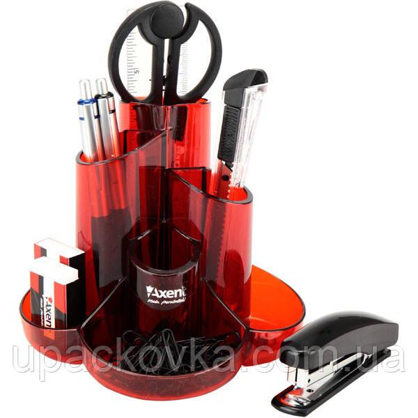 Набор настольный Axent Cascade 2105-06-A, 9 предметов, в картонной коробке, красный