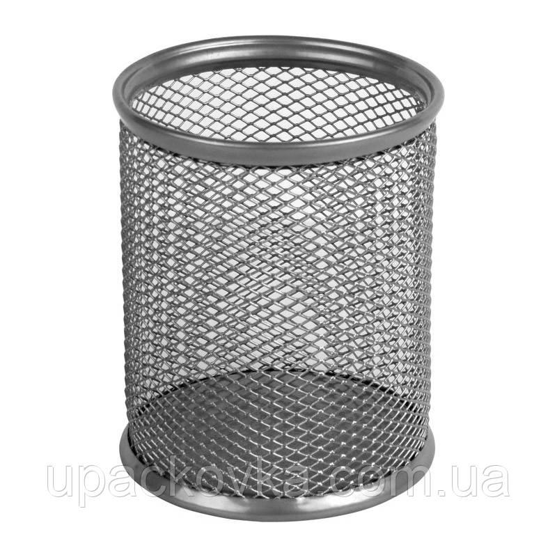 Подставка для ручек металлическая круглая Axent 2110-03-A, 80х80х100 мм, серебристая