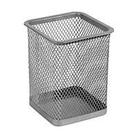 Подставка для ручек квадратная Axent 2111-03-A, 80х80х100 мм, металлическая сетка, серебристая