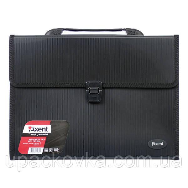 Портфель Axent 1601-01-A, А4, 3 отделения, черный