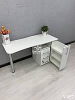 Складной  маникюрный стол, маникюрный стол с ящиком карго. Модель V457 белый