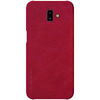 Чехол на самсунг Кожаный чехол (книжка) Nillkin Qin Series для Samsung Galaxy J6+ (2018) Красный