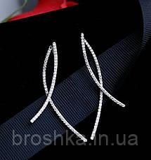 Длинные белые серьги джекеты линии ювелирная бижутерия, фото 3