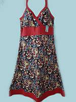 Летний сарафан  женский пляжный узкая бретелькатрикотажный хлопок, красный