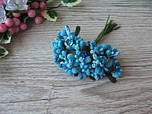 Тычинки с листочком сахарные сложные на веточках синие с розочкой. 14 грн