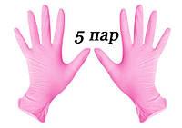 Перчатки нитриловые розовые SafeTouch® Extend Pink  Medicom без пудры 10 штук (5 пар) размер M, фото 1