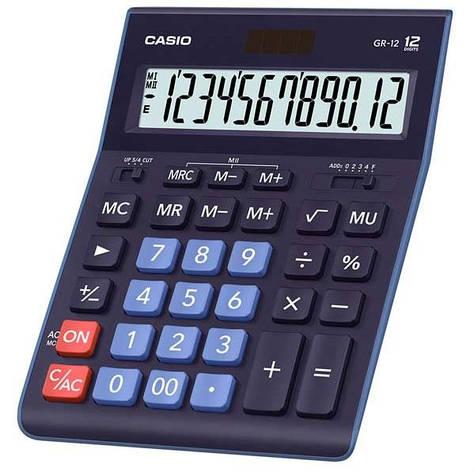 Калькулятор Casio  GR-12-BU-W-EP бухгалтерский 12р., синий, фото 2