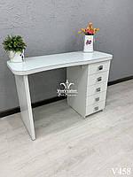 Маникюрный стол со стеклянной скругленной столешницей. Модель V458 белый, фото 1