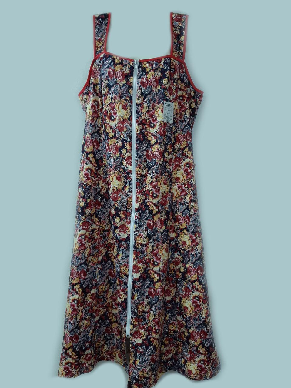 Женский халат больших размеров длинный (100% хлопок) фасон сарафан на молнии летний