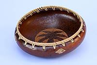 Миска керамическая глубокая с ротанговой оплеткой,диаметр 25 см