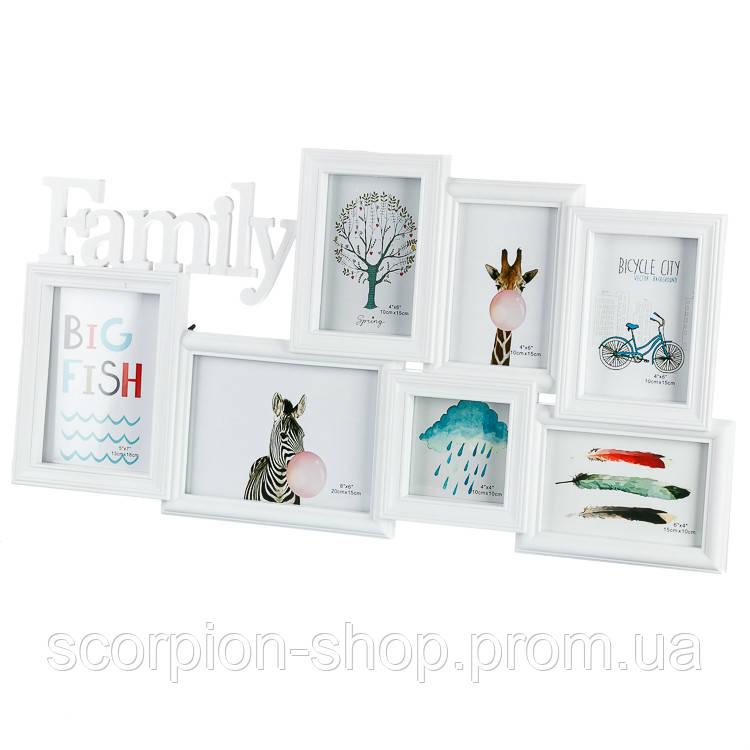 "Фотоколлаж ""Family"" (65.8x34.3x2 см) на 7 фото (208I)"